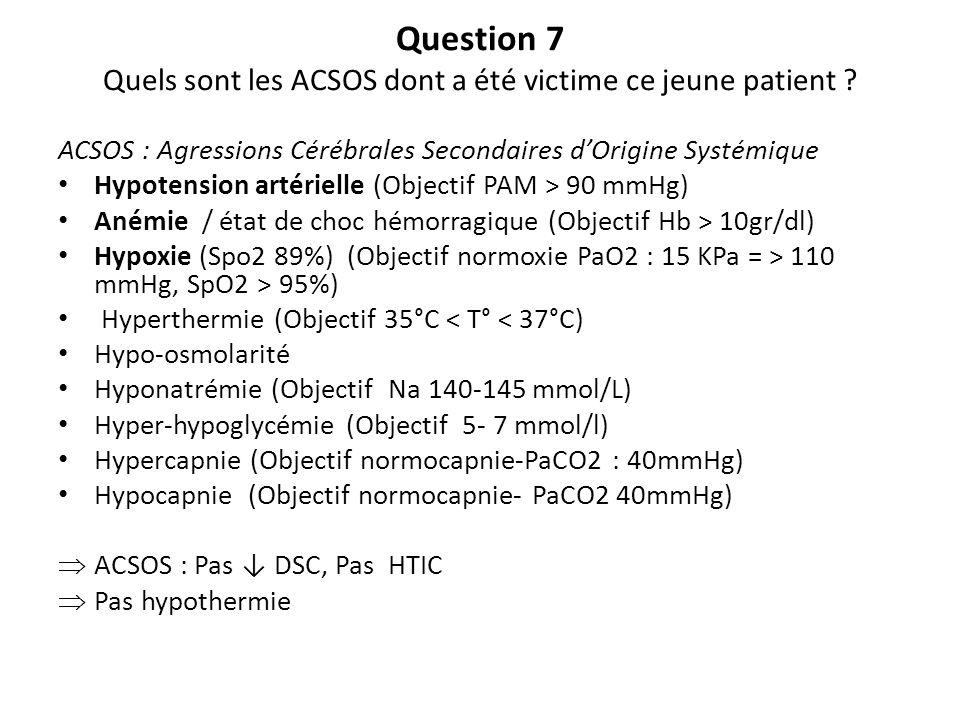 Question 7 Quels sont les ACSOS dont a été victime ce jeune patient ? ACSOS : Agressions Cérébrales Secondaires dOrigine Systémique Hypotension artéri