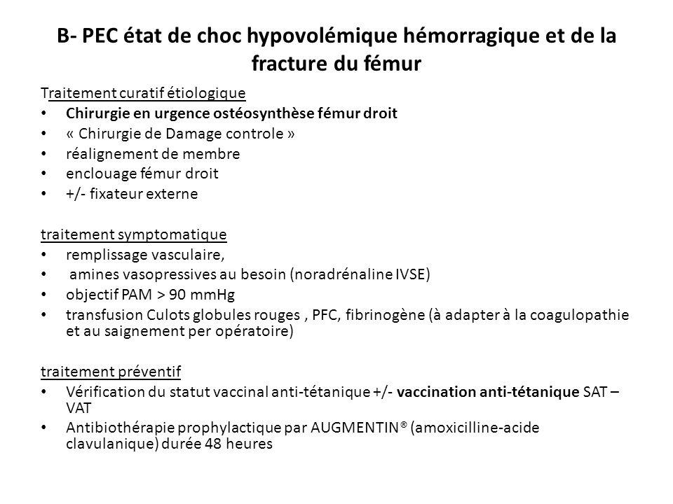 B- PEC état de choc hypovolémique hémorragique et de la fracture du fémur Traitement curatif étiologique Chirurgie en urgence ostéosynthèse fémur droi
