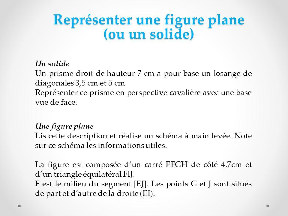 Représenter une figure plane (ou un solide) Un solide Un prisme droit de hauteur 7 cm a pour base un losange de diagonales 3,5 cm et 5 cm. Représenter