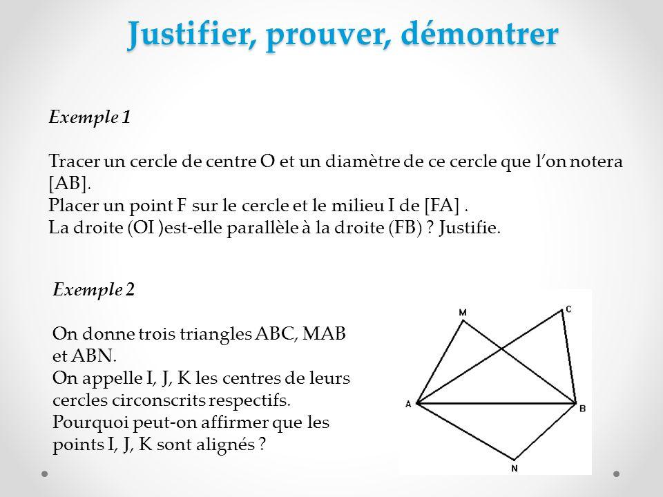 Justifier, prouver, démontrer Exemple 1 Tracer un cercle de centre O et un diamètre de ce cercle que lon notera [AB]. Placer un point F sur le cercle
