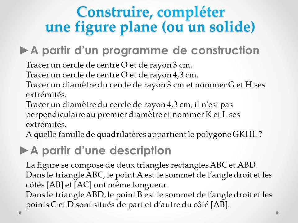 Construire, compléter une figure plane (ou un solide) A partir dun programme de construction Tracer un cercle de centre O et de rayon 3 cm. Tracer un