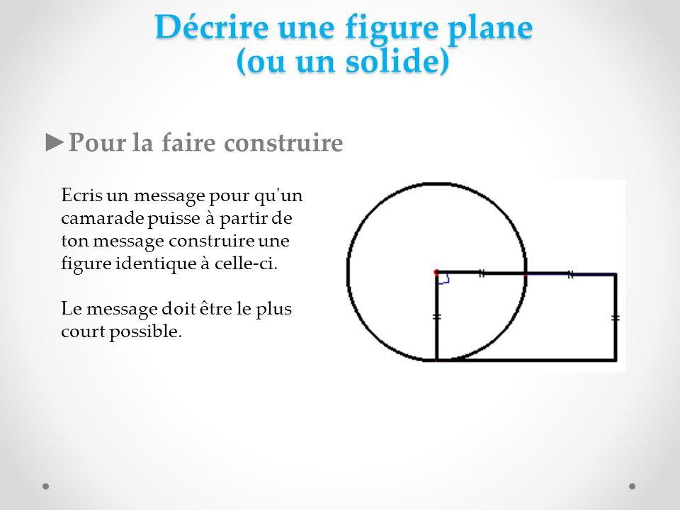 Décrire une figure plane (ou un solide) Pour la faire construire Ecris un message pour qu'un camarade puisse à partir de ton message construire une fi