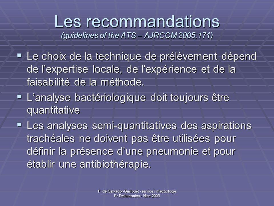 F. de Salvador-Guillouët -service i nfectiologie Pr Dellamonica - Nice 2005 Les recommandations (guidelines of the ATS – AJRCCM 2005;171) Le choix de
