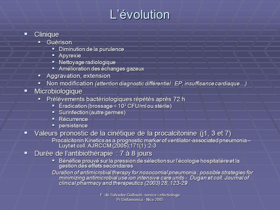 F. de Salvador-Guillouët -service i nfectiologie Pr Dellamonica - Nice 2005 Lévolution Clinique Clinique Guérison Guérison Diminution de la purulence