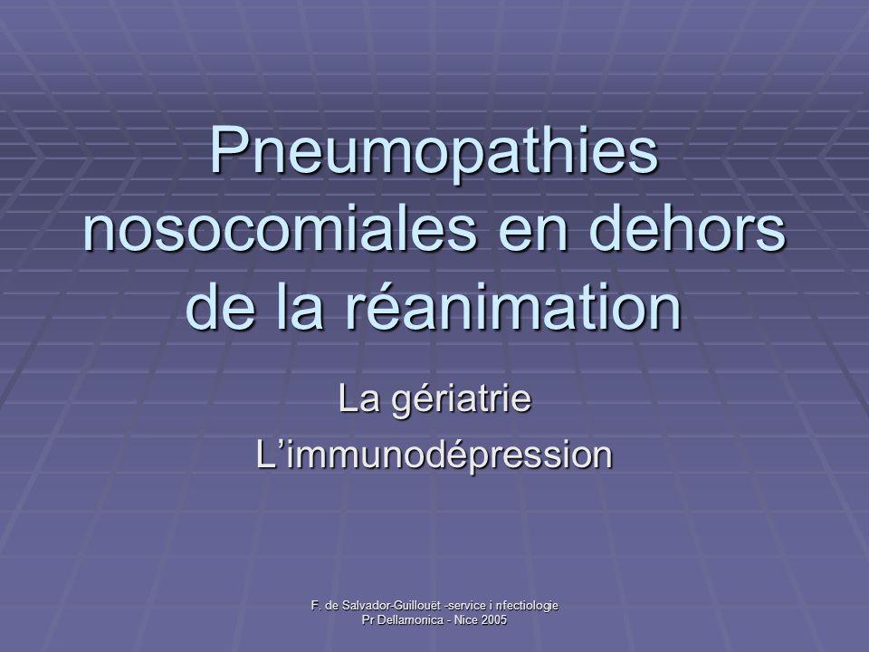 F. de Salvador-Guillouët -service i nfectiologie Pr Dellamonica - Nice 2005 Pneumopathies nosocomiales en dehors de la réanimation La gériatrie Limmun
