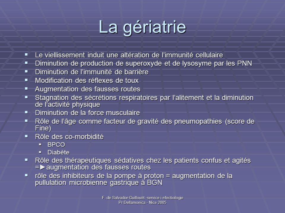 F. de Salvador-Guillouët -service i nfectiologie Pr Dellamonica - Nice 2005 La gériatrie Le viellissement induit une altération de limmunité cellulair