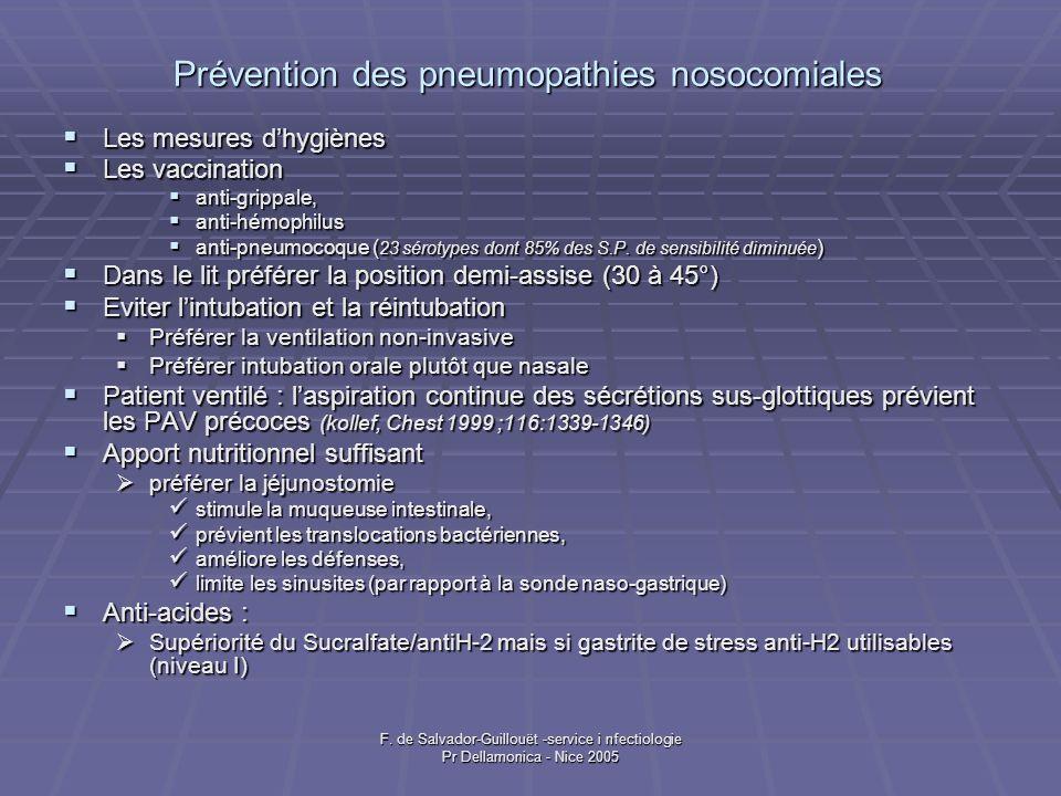 Prévention des pneumopathies nosocomiales Les mesures dhygiènes Les mesures dhygiènes Les vaccination Les vaccination anti-grippale, anti-grippale, an