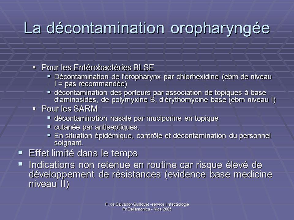 F. de Salvador-Guillouët -service i nfectiologie Pr Dellamonica - Nice 2005 La décontamination oropharyngée Pour les Entérobactéries BLSE Pour les Ent