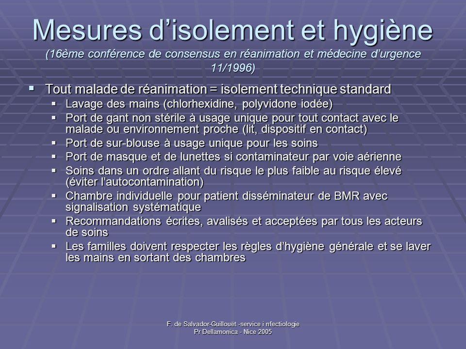 F. de Salvador-Guillouët -service i nfectiologie Pr Dellamonica - Nice 2005 Mesures disolement et hygiène (16ème conférence de consensus en réanimatio
