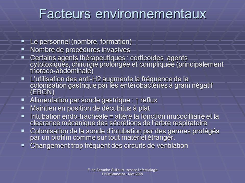 F. de Salvador-Guillouët -service i nfectiologie Pr Dellamonica - Nice 2005 Facteurs environnementaux Le personnel (nombre, formation) Le personnel (n