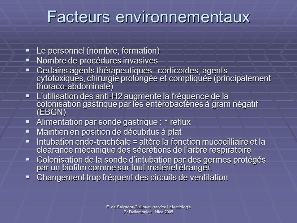 F. de Salvador-Guillouët -service i nfectiologie Pr Dellamonica - Nice 2005 Prevention