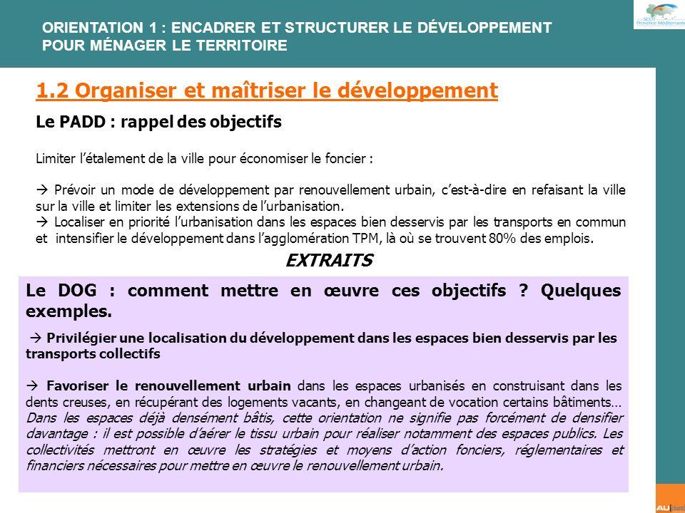 2 e forum citoyen - 7 juillet 2007 1.2 Organiser et maîtriser le développement Le PADD : rappel des objectifs Limiter létalement de la ville pour écon