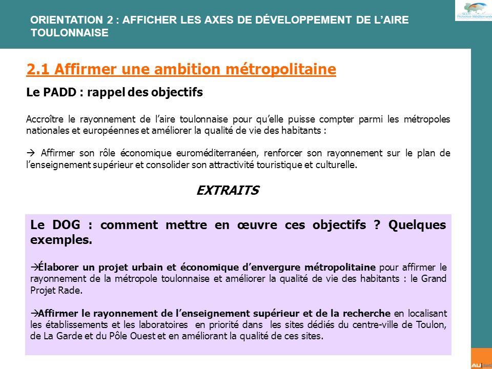 2 e forum citoyen - 7 juillet 2007 2.1 Affirmer une ambition métropolitaine Le PADD : rappel des objectifs Accroître le rayonnement de laire toulonnai