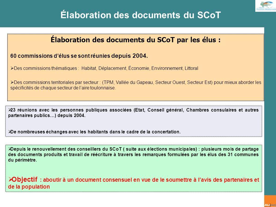 2 e forum citoyen - 7 juillet 2007 Élaboration des documents du SCoT par les élus : 60 commissions délus se sont réunies depuis 2004. Des commissions