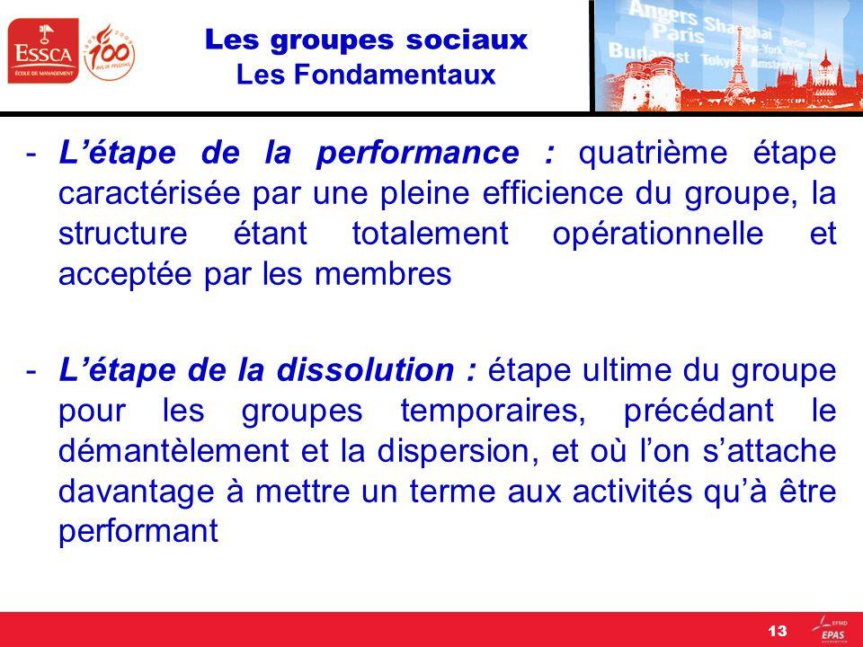 Les groupes sociaux Les Fondamentaux -Létape de la performance : quatrième étape caractérisée par une pleine efficience du groupe, la structure étant