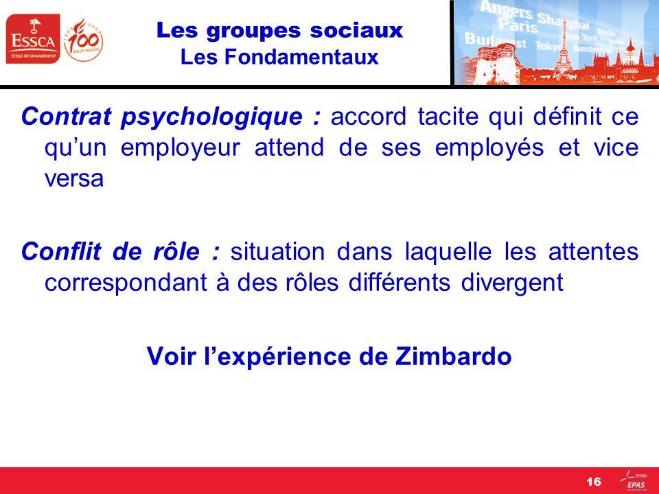 Les groupes sociaux Les Fondamentaux Contrat psychologique : accord tacite qui définit ce quun employeur attend de ses employés et vice versa Conflit