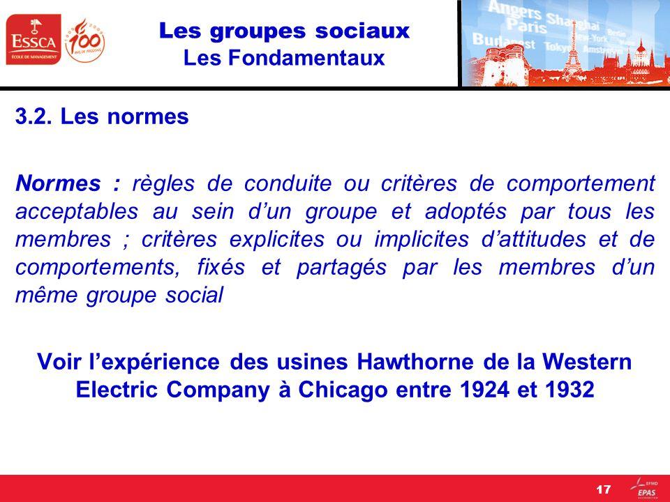 Les groupes sociaux Les Fondamentaux 3.2. Les normes Normes : règles de conduite ou critères de comportement acceptables au sein dun groupe et adoptés