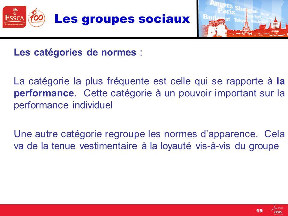 Les groupes sociaux Les catégories de normes : La catégorie la plus fréquente est celle qui se rapporte à la performance. Cette catégorie à un pouvoir