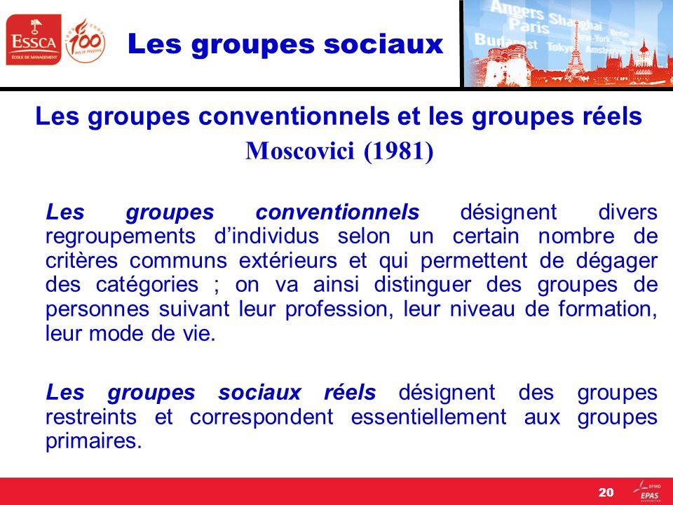 Les groupes sociaux Les groupes conventionnels et les groupes réels Moscovici (1981) Les groupes conventionnels désignent divers regroupements dindivi