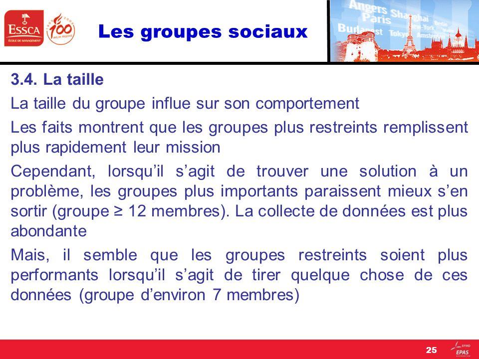 Les groupes sociaux 3.4. La taille La taille du groupe influe sur son comportement Les faits montrent que les groupes plus restreints remplissent plus