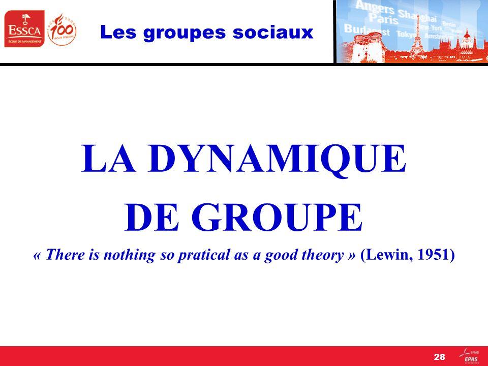 Les groupes sociaux LA DYNAMIQUE DE GROUPE « There is nothing so pratical as a good theory » (Lewin, 1951) 28
