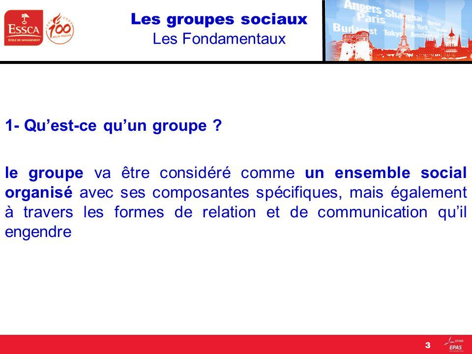 Les groupes sociaux Les Fondamentaux 1- Quest-ce quun groupe ? le groupe va être considéré comme un ensemble social organisé avec ses composantes spéc