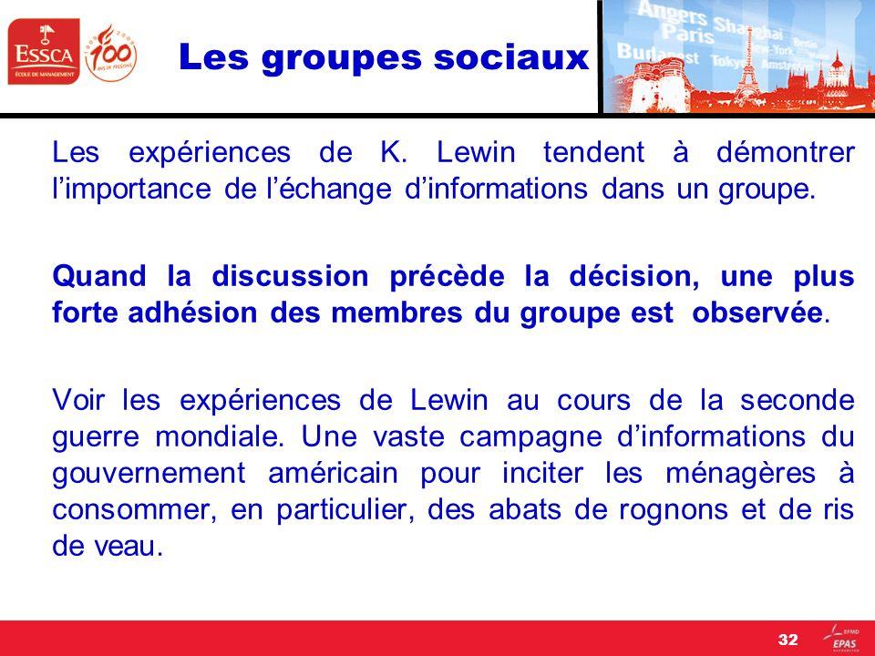 Les groupes sociaux Les expériences de K. Lewin tendent à démontrer limportance de léchange dinformations dans un groupe. Quand la discussion précède