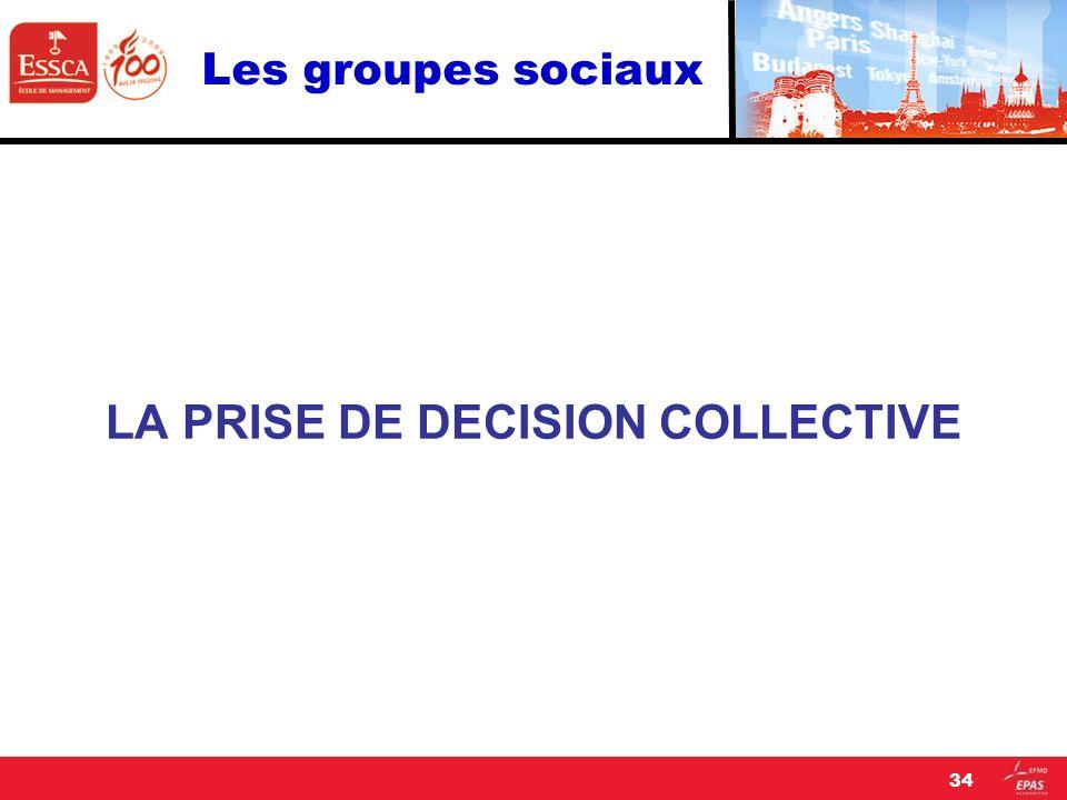 Les groupes sociaux LA PRISE DE DECISION COLLECTIVE 34