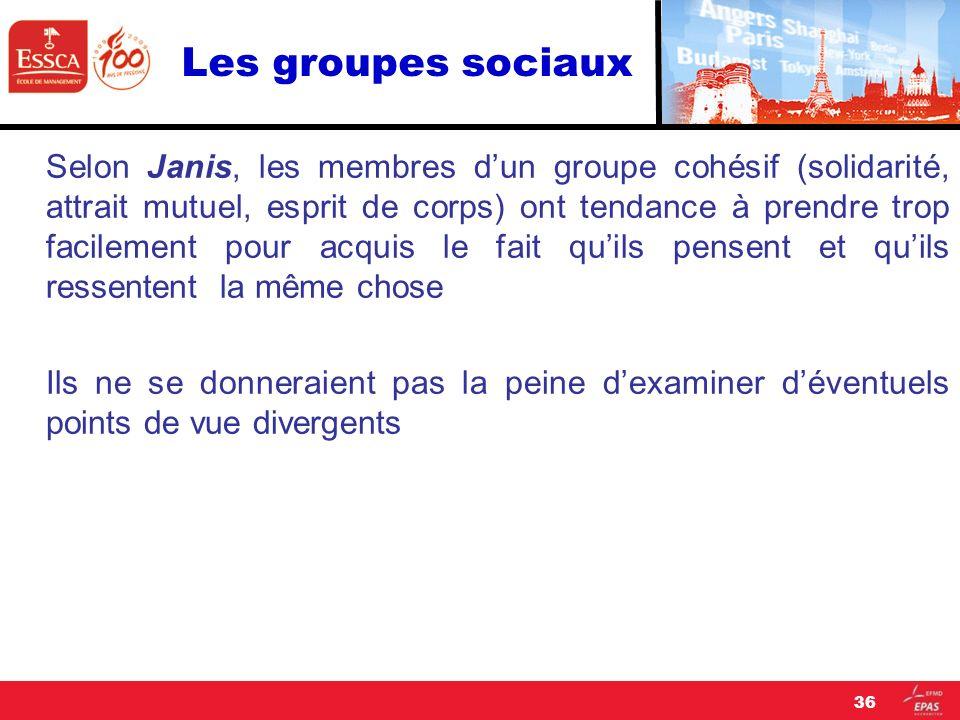 Les groupes sociaux Selon Janis, les membres dun groupe cohésif (solidarité, attrait mutuel, esprit de corps) ont tendance à prendre trop facilement p