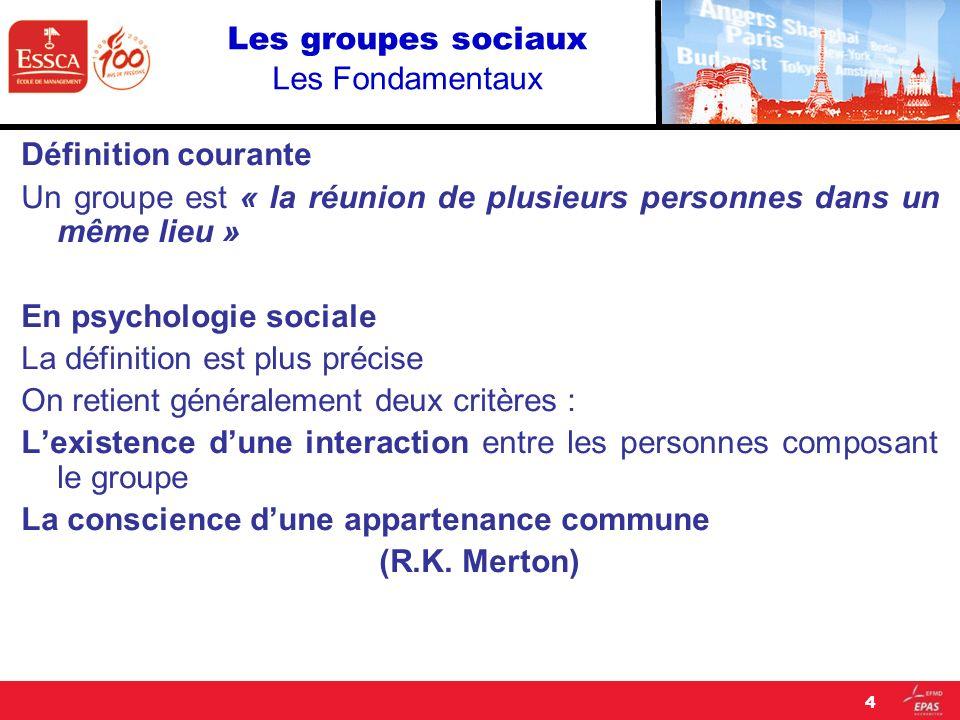 Les groupes sociaux Les Fondamentaux Définition courante Un groupe est « la réunion de plusieurs personnes dans un même lieu » En psychologie sociale