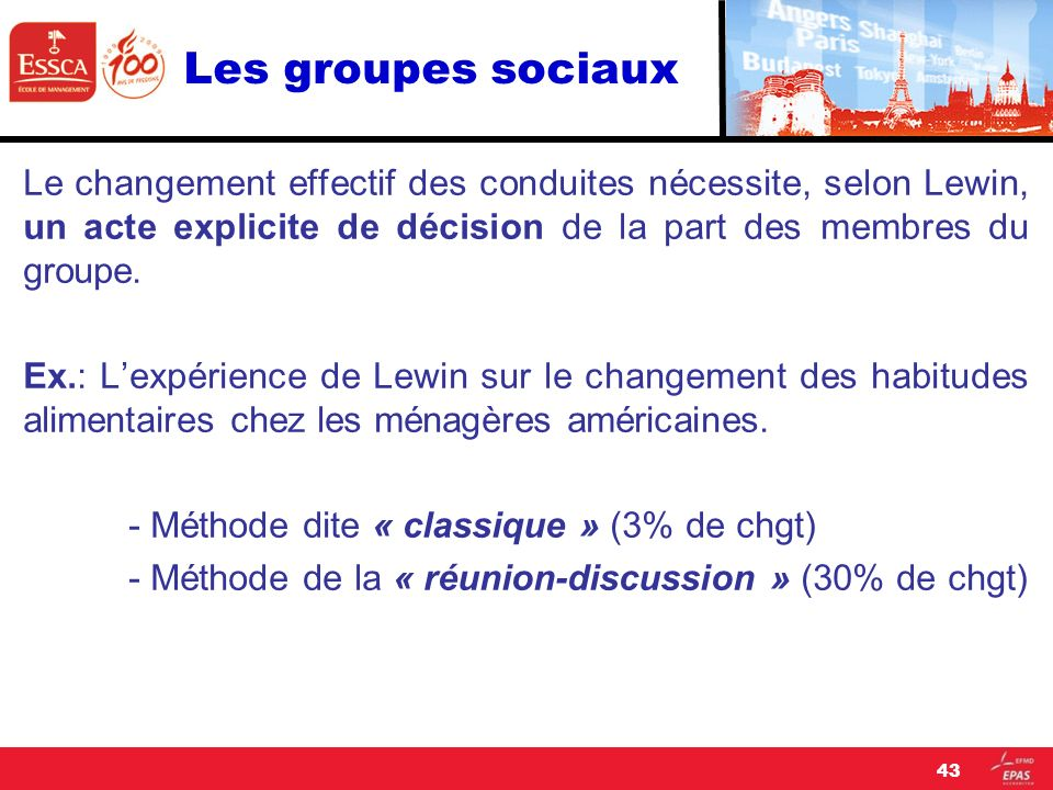 Les groupes sociaux Le changement effectif des conduites nécessite, selon Lewin, un acte explicite de décision de la part des membres du groupe. Ex.: