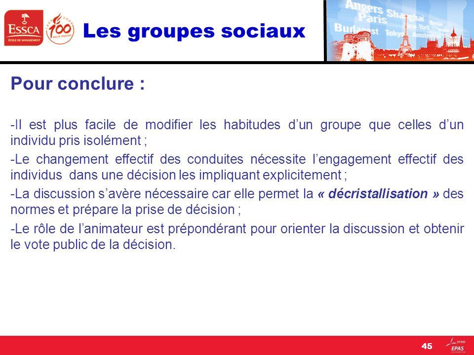 Les groupes sociaux Pour conclure : -Il est plus facile de modifier les habitudes dun groupe que celles dun individu pris isolément ; -Le changement e