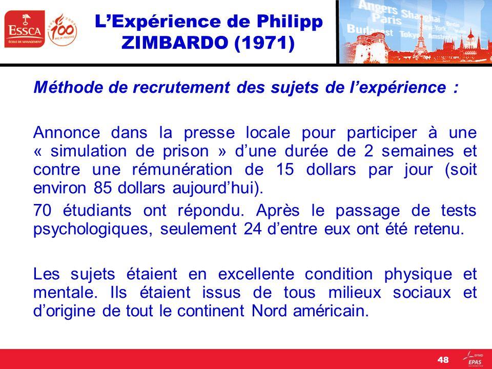 LExpérience de Philipp ZIMBARDO (1971) Méthode de recrutement des sujets de lexpérience : Annonce dans la presse locale pour participer à une « simula