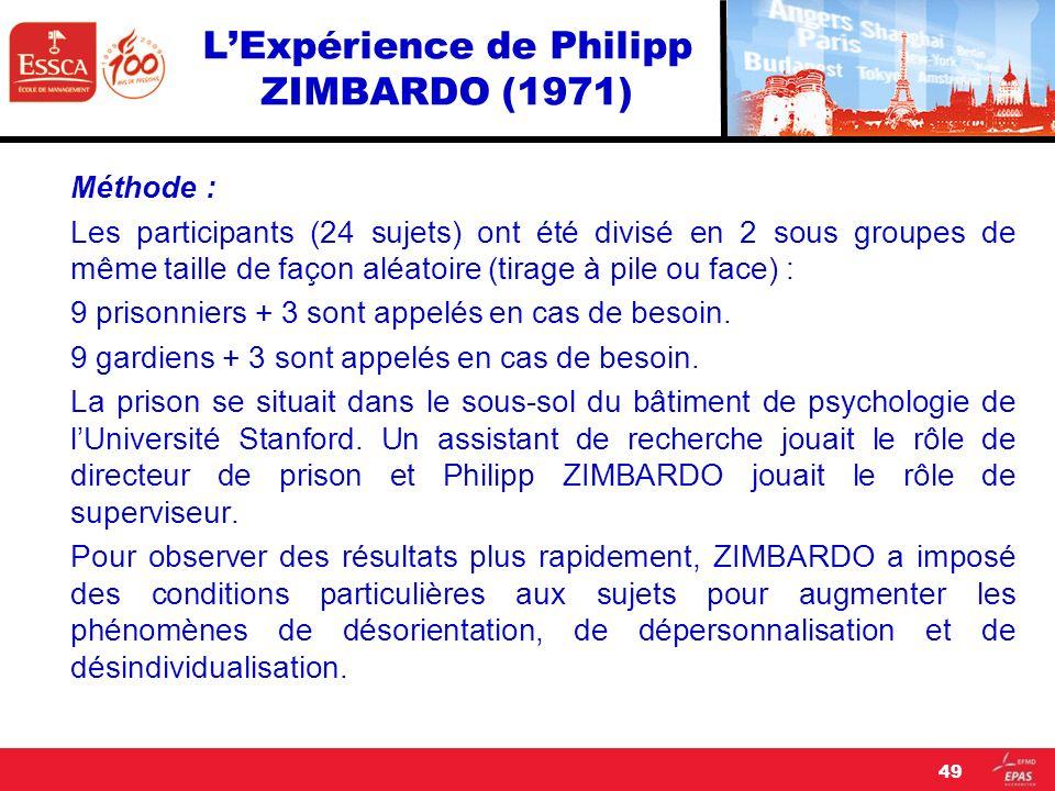 LExpérience de Philipp ZIMBARDO (1971) Méthode : Les participants (24 sujets) ont été divisé en 2 sous groupes de même taille de façon aléatoire (tira