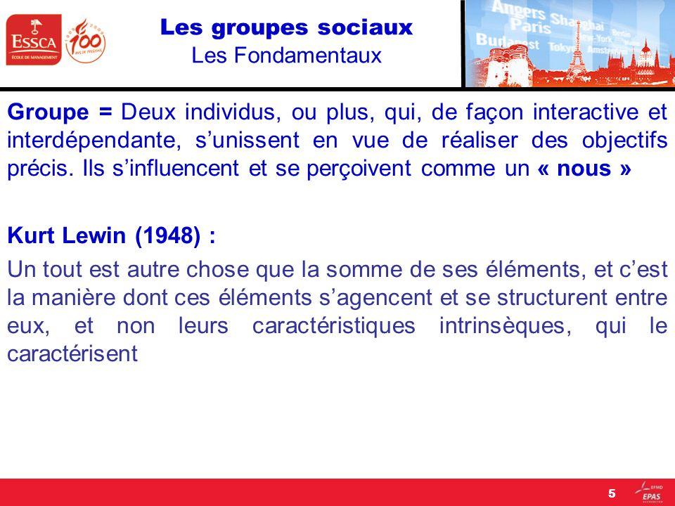 Les groupes sociaux Les Fondamentaux Groupe = Deux individus, ou plus, qui, de façon interactive et interdépendante, sunissent en vue de réaliser des