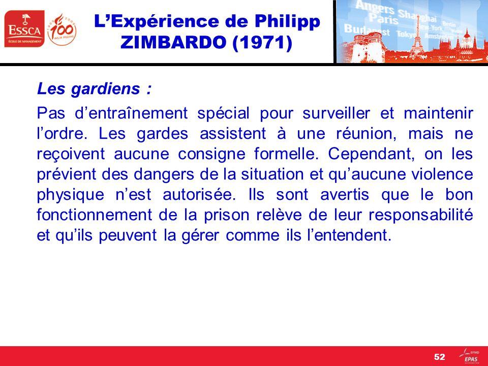 LExpérience de Philipp ZIMBARDO (1971) Les gardiens : Pas dentraînement spécial pour surveiller et maintenir lordre. Les gardes assistent à une réunio