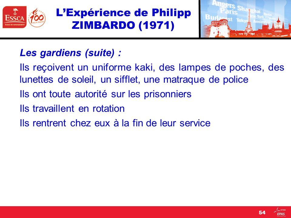 LExpérience de Philipp ZIMBARDO (1971) Les gardiens (suite) : Ils reçoivent un uniforme kaki, des lampes de poches, des lunettes de soleil, un sifflet