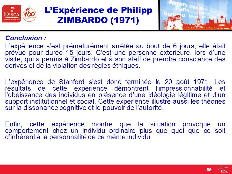 LExpérience de Philipp ZIMBARDO (1971) Conclusion : Lexpérience sest prématurément arrêtée au bout de 6 jours, elle était prévue pour durée 15 jours.