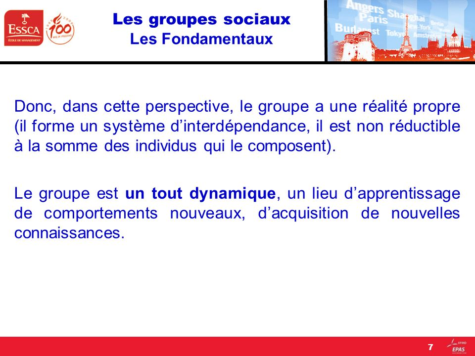 Les groupes sociaux LA DYNAMIQUE DE GROUPE « There is nothing so pratical as a good theory » (Lewin, 1951) 28
