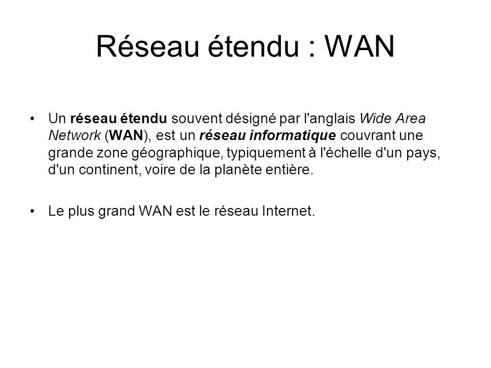 Réseau étendu : WAN Un réseau étendu souvent désigné par l'anglais Wide Area Network (WAN), est un réseau informatique couvrant une grande zone géogra