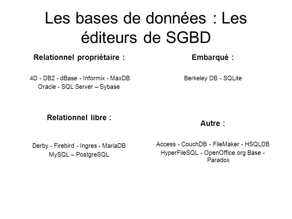 Les bases de données : Les éditeurs de SGBD Relationnel propriétaire : 4D - DB2 - dBase - Informix - MaxDB Oracle - SQL Server – Sybase Relationnel li