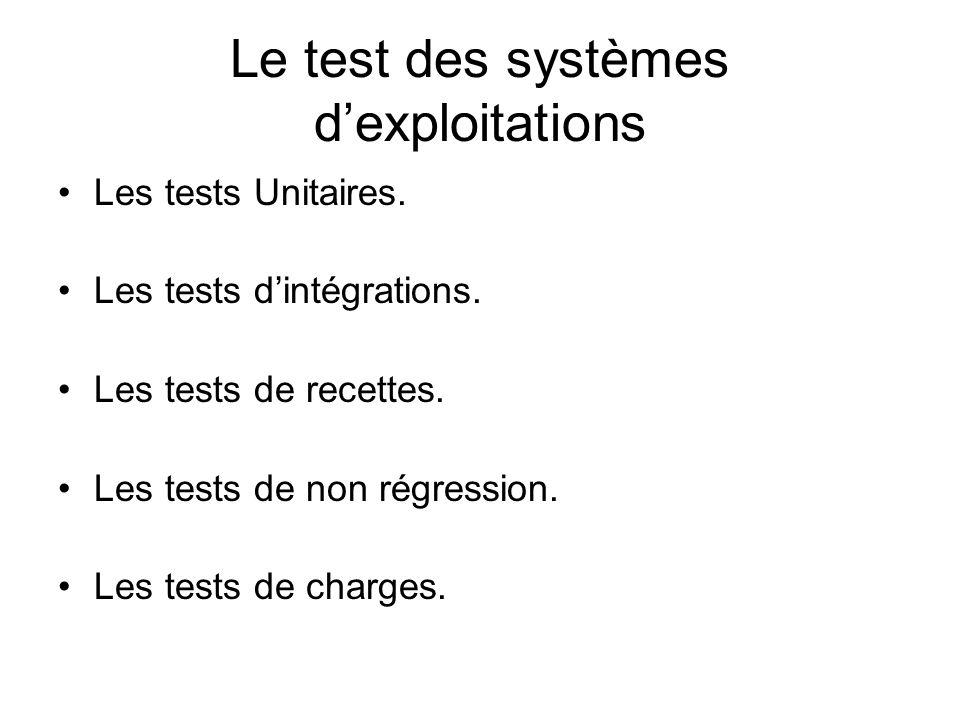 Le test des systèmes dexploitations Les tests Unitaires. Les tests dintégrations. Les tests de recettes. Les tests de non régression. Les tests de cha
