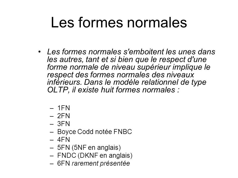 Les formes normales Les formes normales s'emboitent les unes dans les autres, tant et si bien que le respect d'une forme normale de niveau supérieur i