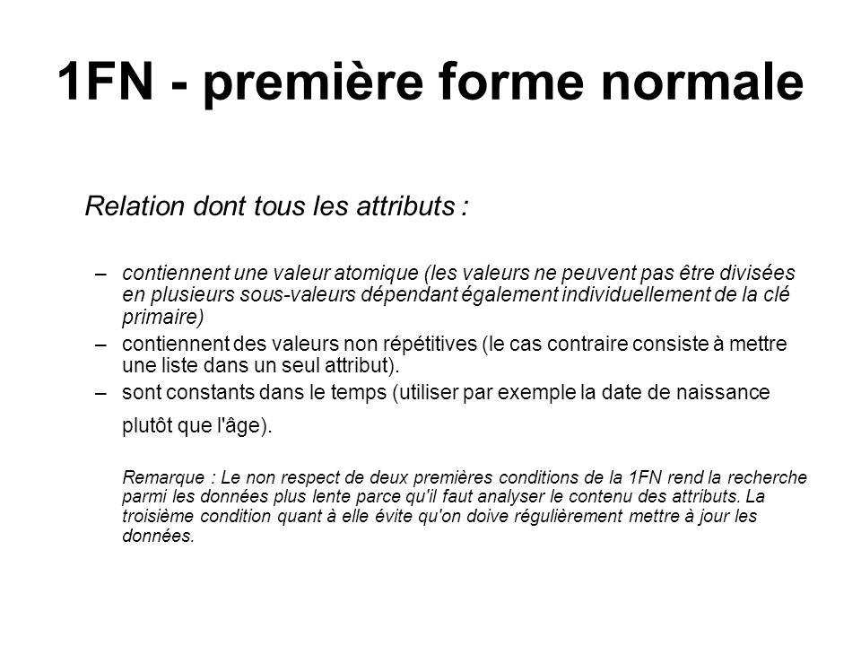 1FN - première forme normale Relation dont tous les attributs : –contiennent une valeur atomique (les valeurs ne peuvent pas être divisées en plusieur