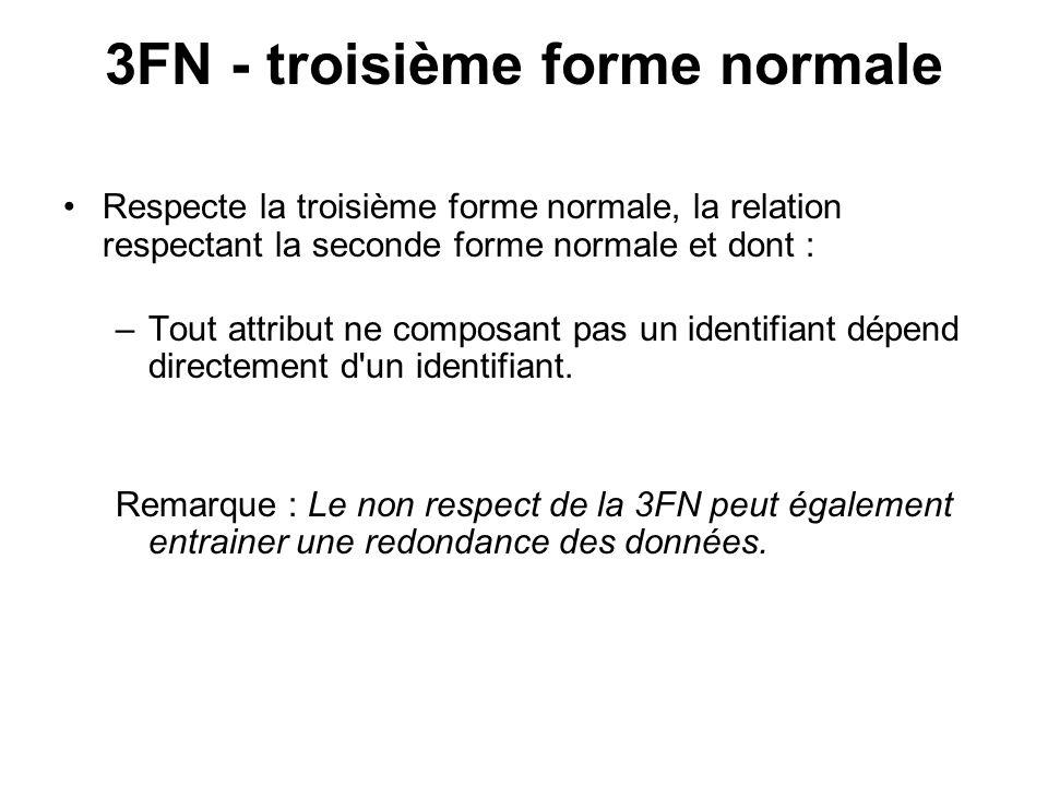 3FN - troisième forme normale Respecte la troisième forme normale, la relation respectant la seconde forme normale et dont : –Tout attribut ne composa