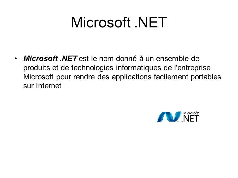 Microsoft.NET Microsoft.NET est le nom donné à un ensemble de produits et de technologies informatiques de l'entreprise Microsoft pour rendre des appl