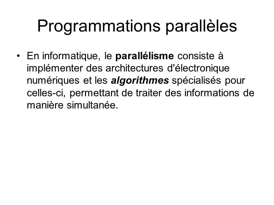 Programmations parallèles En informatique, le parallélisme consiste à implémenter des architectures d'électronique numériques et les algorithmes spéci
