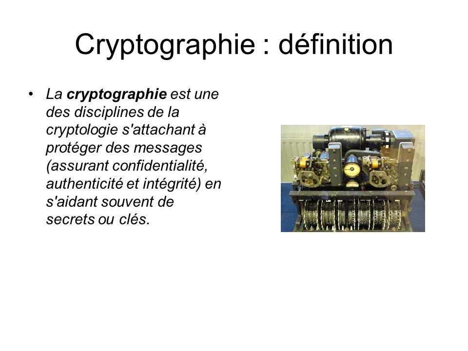 Cryptographie : définition La cryptographie est une des disciplines de la cryptologie s'attachant à protéger des messages (assurant confidentialité, a