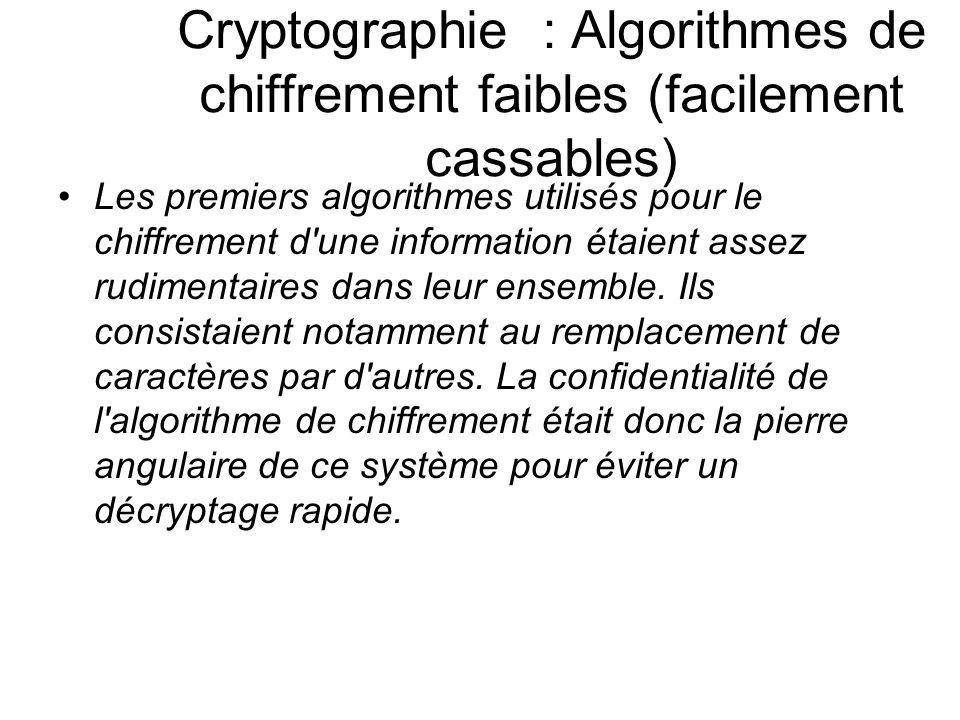 Cryptographie : Algorithmes de chiffrement faibles (facilement cassables) Les premiers algorithmes utilisés pour le chiffrement d'une information étai