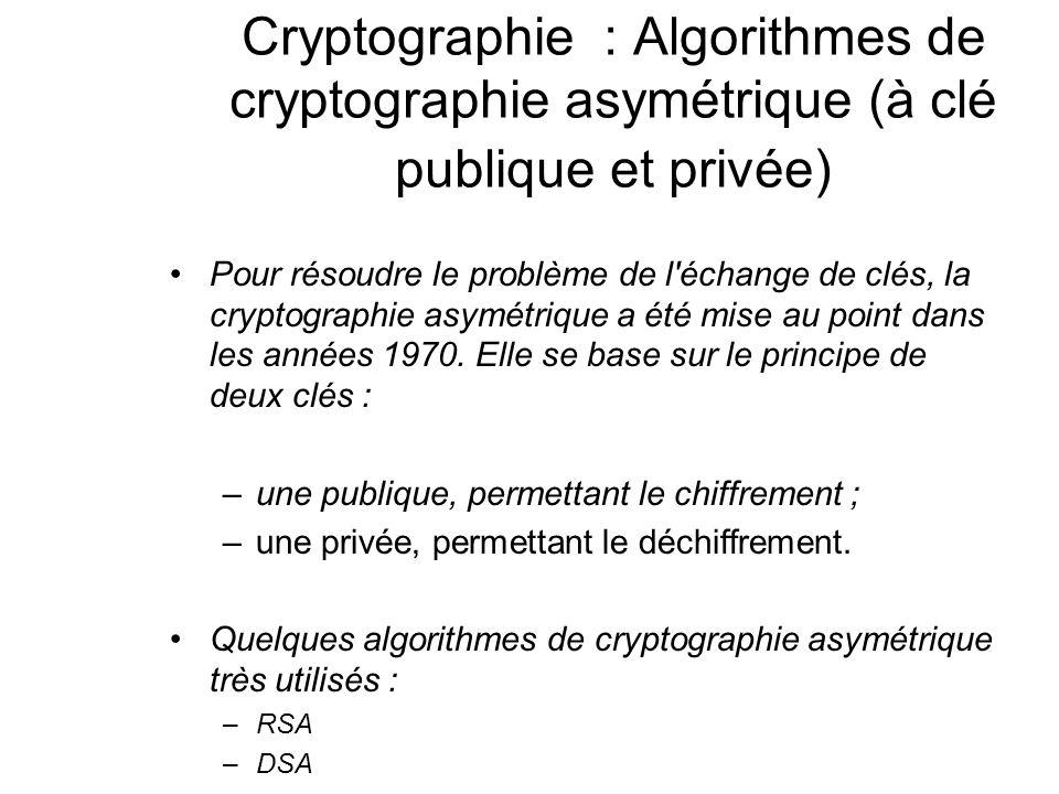 Cryptographie : Algorithmes de cryptographie asymétrique (à clé publique et privée) Pour résoudre le problème de l'échange de clés, la cryptographie a